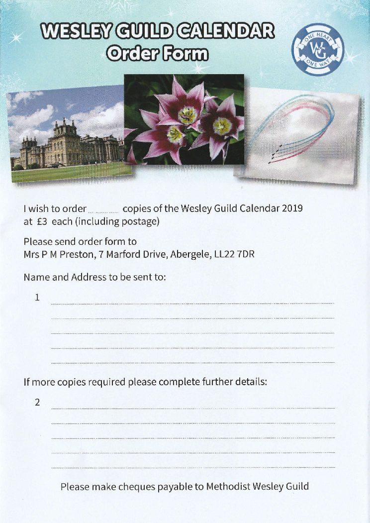 Wesley Guild Calendar Order Form