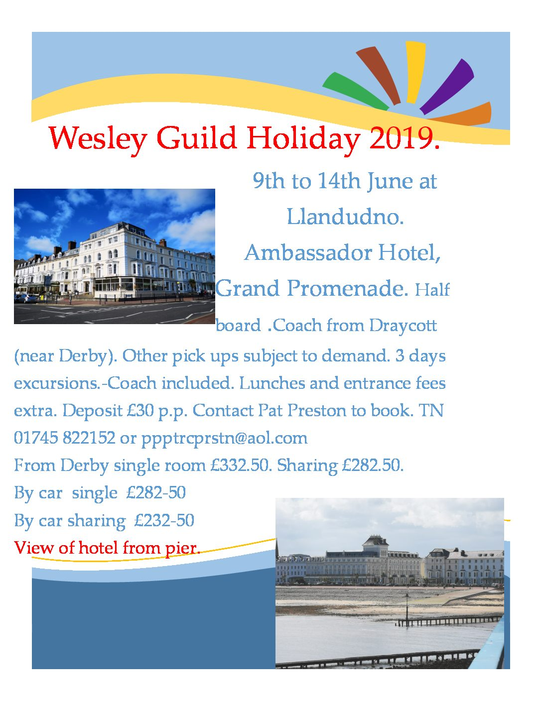Wesley Guild Holiday To Llandudno In 2019